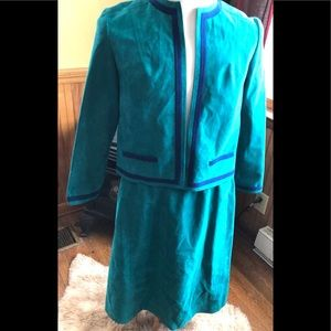 Vintage 80s Teal Green Blue Ultra Suede Skirt Suit